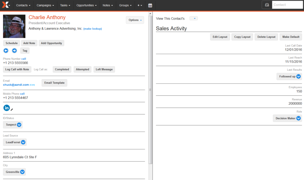 sales activity tracking with CRM fields